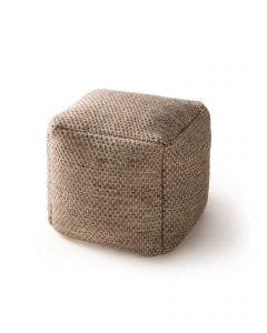 Handgefertigter Woll-Pouf Rocco Taupe